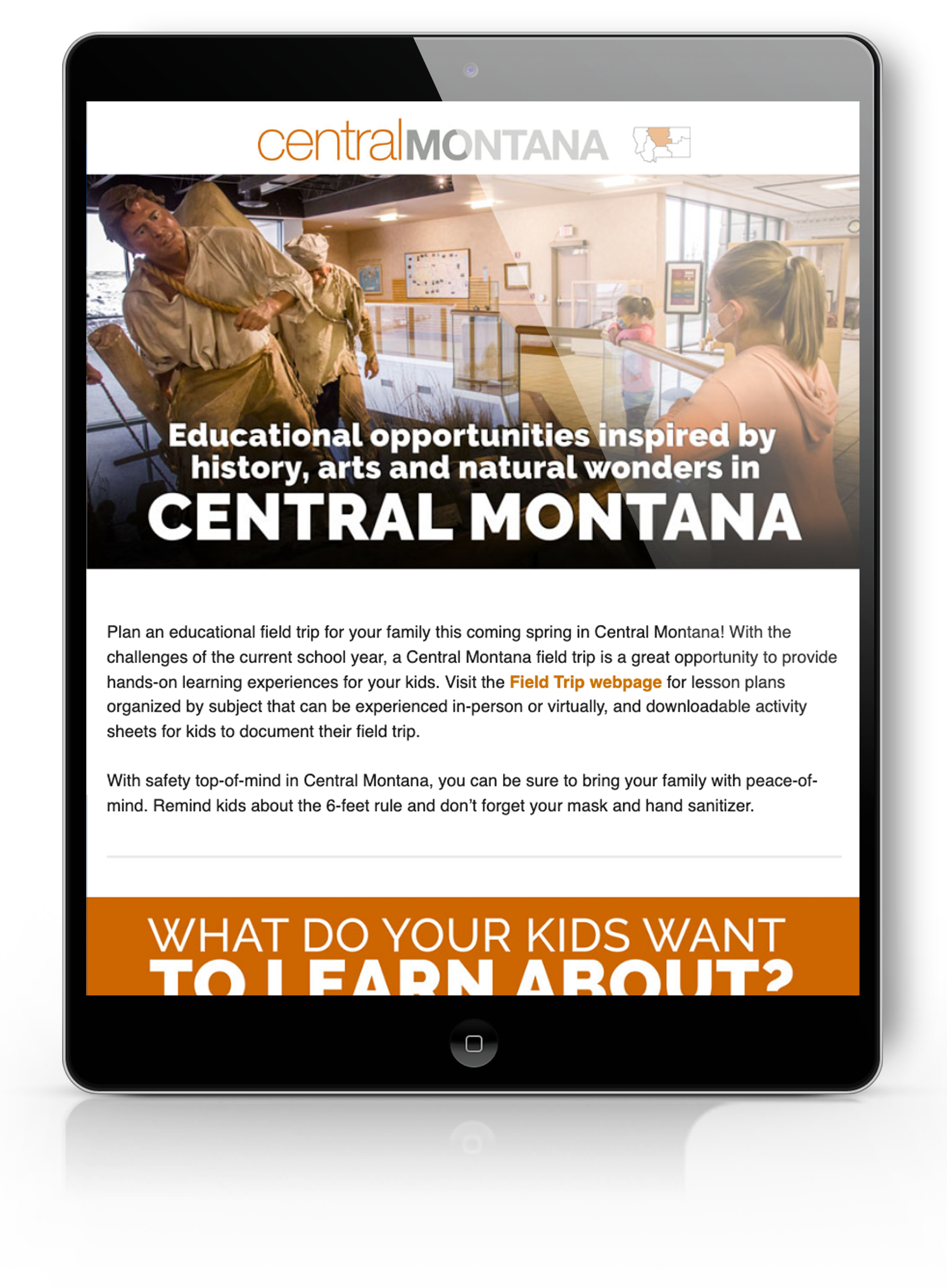 Central Montana html on a tablet