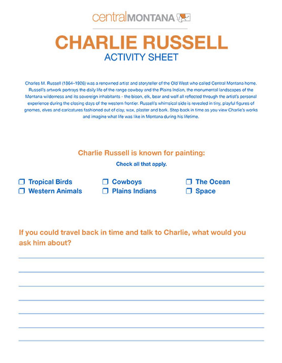 Charlie Russell activity sheet