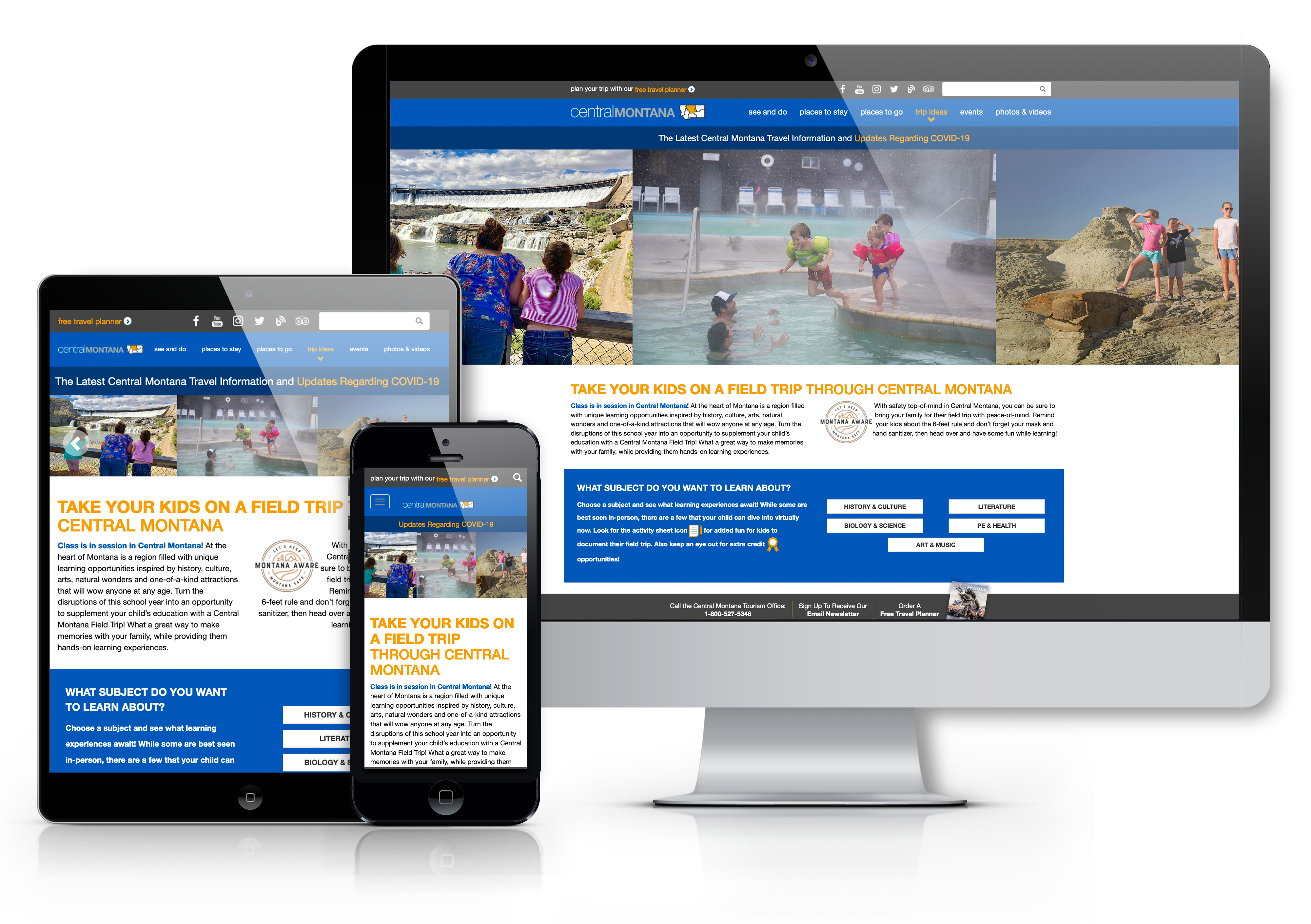 Central Montana's website on mobile responsive devices including a desktop computer, tablet, and computer