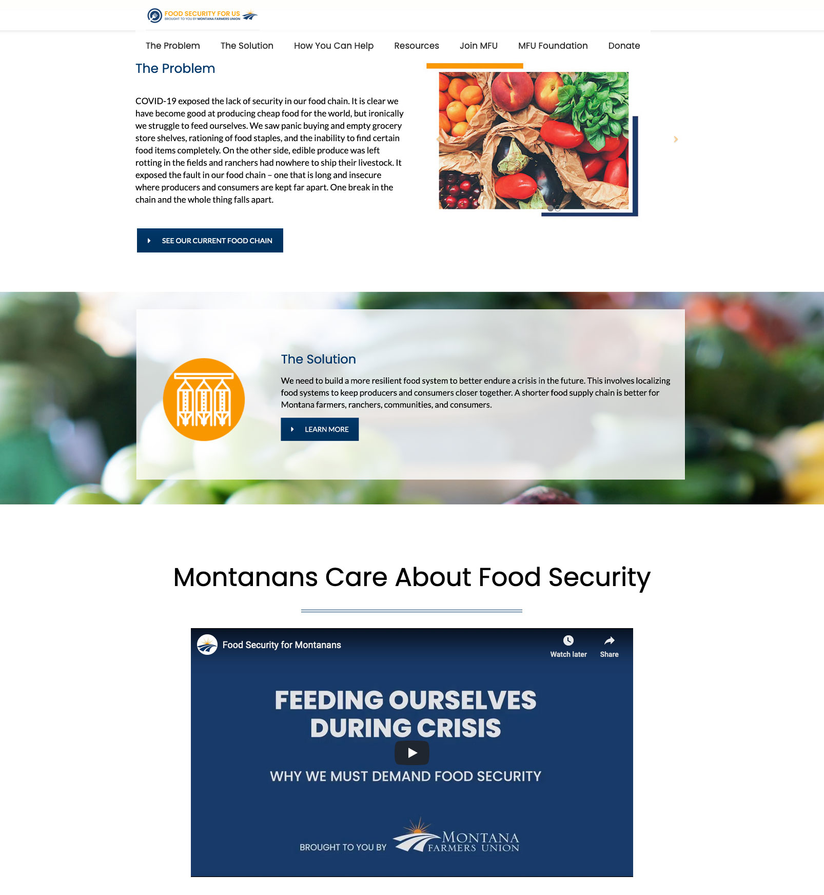 MFU Food Security for Us home page