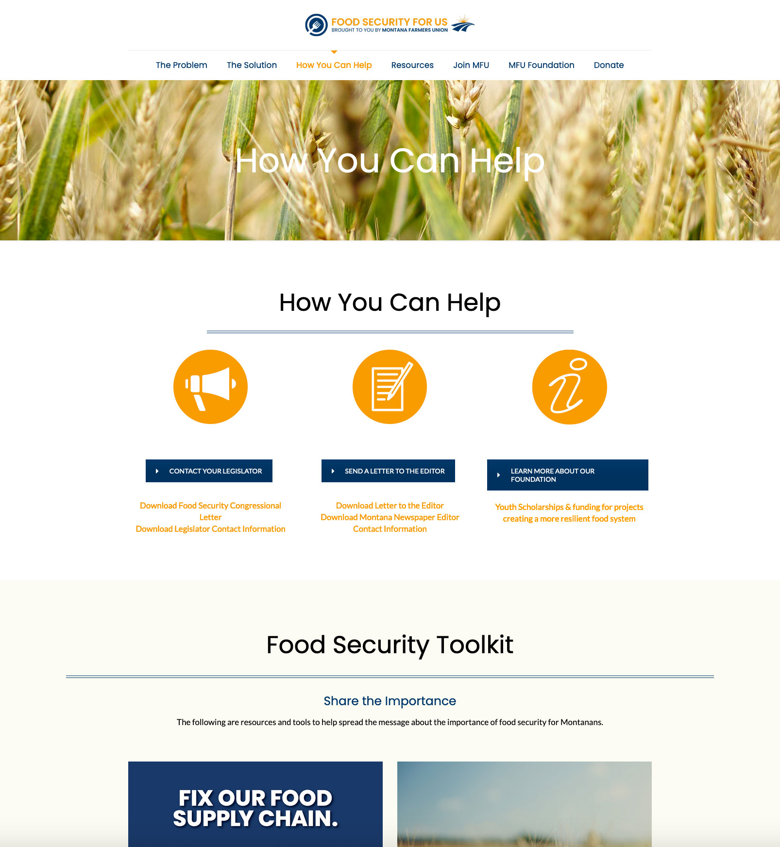 MFU Food Security for Us how you can help web page