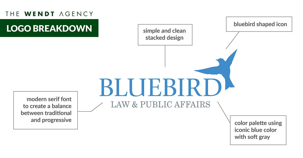 Bluebird Law logo breakdown